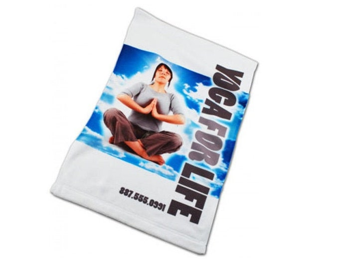 Personalized White Microfiber Velour Towel, Your Choice of Photo/Image/Words, Custom Sports Towel, Personalized Towel,Custom Corporate Towel
