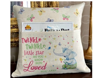 Personalized Book Pillow Cover, Reading Pillow Cover, Elephant Book Pillow Cover, Kids Pocket Pillow Cover, Reading Book Pillow Cover