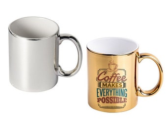 Custom Photo Mugs, Gold or Silver Plated, Personalized, Your Choice of Photo/Image/Words, 11 oz., Personalized Photo Cups, Corporate Logo