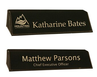 Personalized Leatherette Desk Wedge Black with Gold Name Plate, Your Choice of Image/Words, Custom Desk Name Plates, Corporate Name Plates