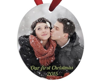 Personalized Photo Ornament, Your Choice of Photo/Image/Words, Design your own Full Color Ornament, Custom Ornament, First Christmas