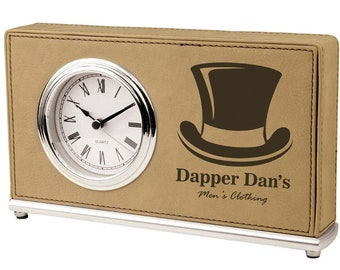 Personalized Leatherette Desk Clock, Your Choice of Image/Words, Laser Engraved, Custom Clock, Engraved Clock, Wedding Gifts,Corporate Gifts