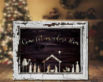 "Rustic Nativity Scene Sign, 8"" x 10"", Christmas Nativity Panel, Distressed Nativity Scene, Country Christmas Decor, Christmas Nativity Decor"