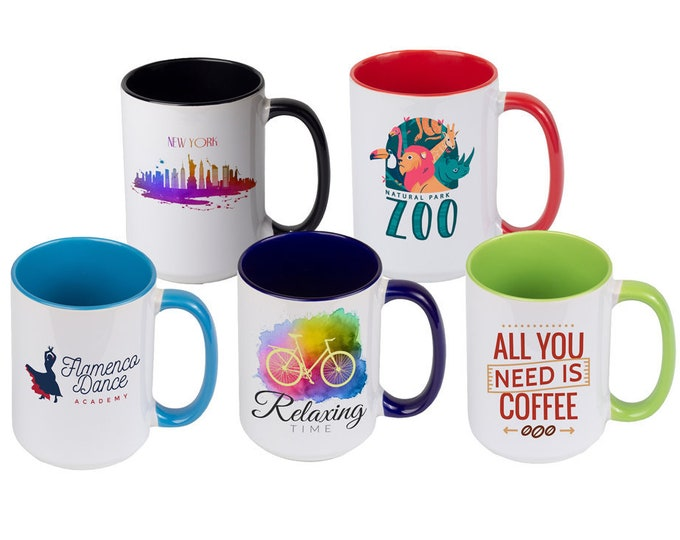 Custom Photo Mugs, Personalized, Your Choice of Photo/Image/Words, 15 oz., Inner Color, Personalized Photo Cups, Custom Designed Cups/Mugs