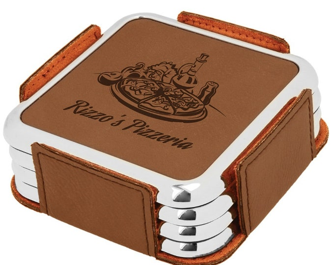 Personalized Brown/Black Leatherette Coaster Set, Laser Engraved, Set of 4, Engraved Coasters,Custom Coasters, Personalized Drink Coasters