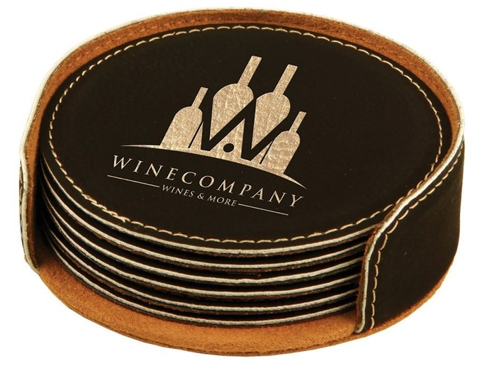 Personalized Leatherette Coaster Set, Black Laser Engraved with Gold, Set of 6, Custom Coasters, Engraved Coasters, Corporate Gifts
