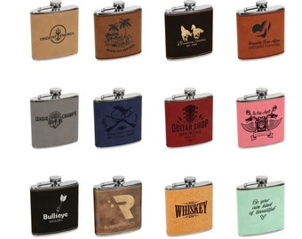 Personalized Leatherette Flask, Your Choice of Image/Words, Custom Flask, Laser Engraved Flask, Personalized Gifts, Groomsmens, Mens Gifts
