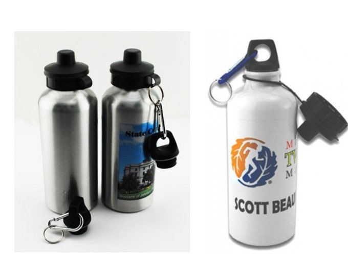 Custom Aluminum Water Bottle, Your Choice of Photo/Image/Words, 20 oz. White or Silver, Insulated, Personalized Water Bottle,Corporate Gifts