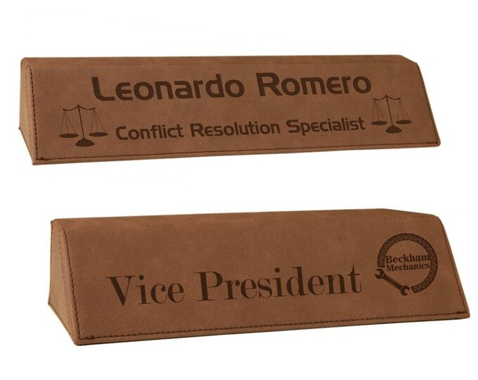 Personalized Leatherette Desk Wedge Name Plate, Your Choice of Image/Words, Laser Engraved, Custom Desk Name Plates, Corporate Name Plates
