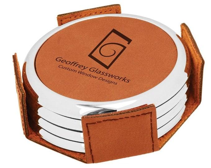 Personalized Rawhide/Black Leatherette Coaster Set, Laser Engraved, Set of 4, Engraved Coasters,Custom Coasters, Personalized Drink Coasters