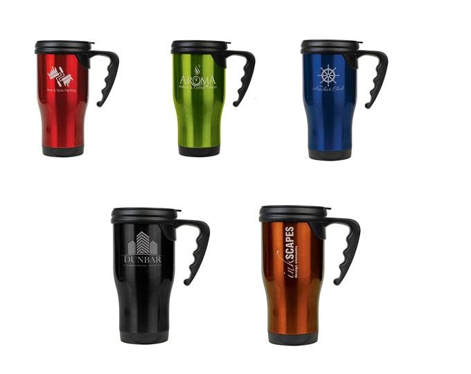 Personalized Travel Mug, Your Choice of Image/Words, 14 oz. Insulated, Stainless Steel, Custom Travel Mug, Laser Engraved Travel Mug