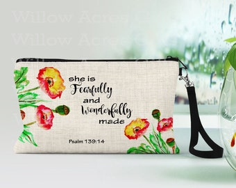 Custom Cosmetic Bag, Personalized, She is Fearfully and Wonderfully Made - Psalm 139:14,  Makeup Bags, Makeup Pouch, Friends Gift Ideas