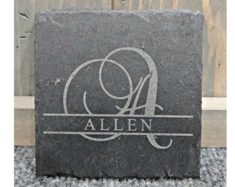 Personalized Slate Coasters, Your Choice of Words/Image, Set of 4, Laser Engraved, Personalized Gifts, Corporate Gifts, Housewarming Gifts