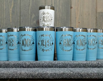 Personalized Laser Engraved Travel Mugs, Your Choice of Image/Words, 20 oz. Insulated, Yeti Style, Stainless Steel, Bridesmaids Gifts