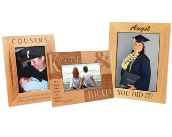 Personalized Alder Wood Photo Frame, Custom Photo Frame, Engraved Photo Frame, 5x7 or 8x10,Laser Engraved Picture Frame,Custom Picture Frame
