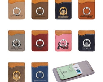 Personalized Phone Wallet with Ring, Custom Phone Wallet, Engraved Phone Wallet, Corporate Gifts, Personalized Gifts, Custom Phone Gifts