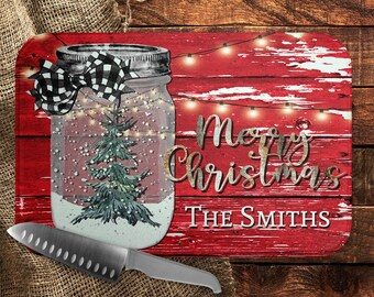 Personalized Merry Christmas Cutting Board, Christmas Mason Jar Cutting Board, Red Barnwood, Custom Country Christmas Cutting Board