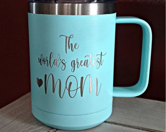 Laser Engraved Handled Mugs, Your Choice of Image/Words, 15 oz. Polar Camel Insulated Stainless Steel, Personalized Mugs, Custom Mugs