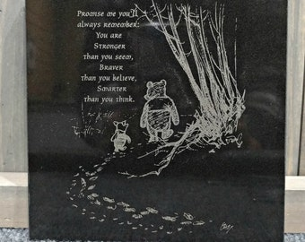 Engraved Black Granite Tile, You are Smarter than you Think Winnie the Pooh Saying or Personalize it -Your Choice of ImageWords,Custom Gifts