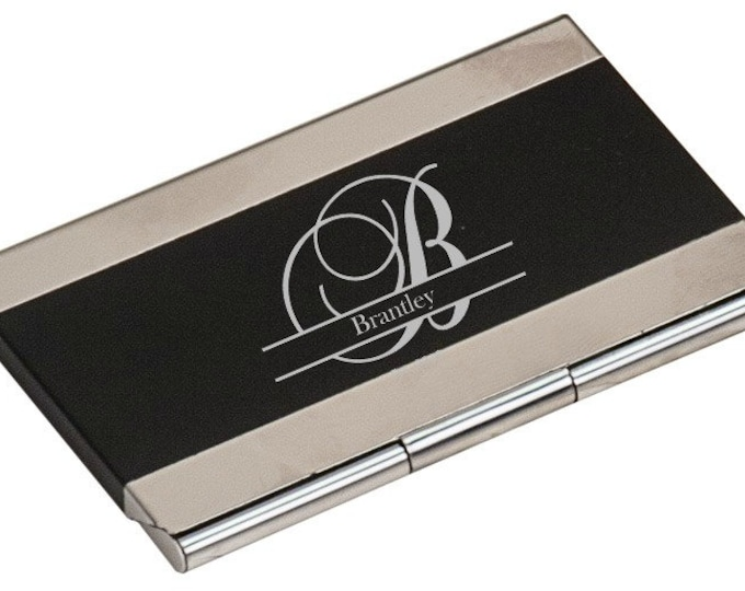 Black Business Card Holder, Personalized - Your Choice of Image/Words, Laser Engraved, Custom Business Card Holder, Personalized Gifts