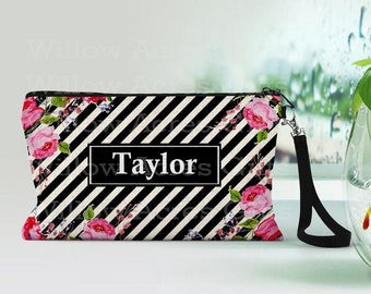 Personalized Makeup Bag, Can be Personalized, Black Stripe Floral, Custom Cosmetic Bag, Personalized Cosmetic Bag, Friend Gift, Bridesmaid