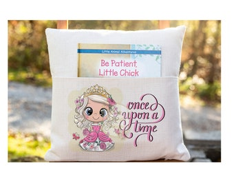 Personalized Book Pillow Cover, Once Upon a Time Book Pillow, Princess, Pocket Pillow Cover, Reading Book Pillow Cover, Custom Pillow Cover