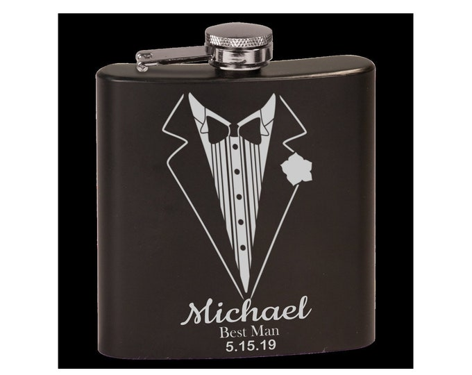 Personalized Groomsmen/Best Man Black Flask, Choice of Tuxedo Image/Words, Custom Flask, Laser Engraved, Wedding Party Gifts, Mens Gifts