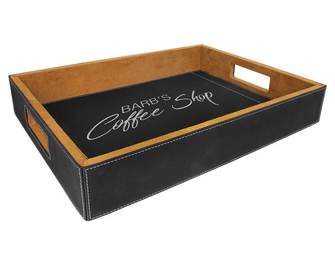 Personalized Black/Silver Leatherette Serving Tray, Laser Engraved, Engraved Serving Tray, Custom Serving Tray,Corporate Gifts,Wedding Gifts