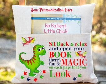 Personalized Book Pillow Cover, Dinosaur Theme, Pocket Pillow Cover, Reading Book Pillow Cover, Custom Reading Pillow Cover, Kids Book Cover