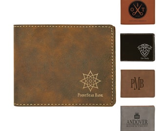 Personalized Bi-Fold Leatherette Wallet, Custom Wallet, Laser Engraved Wallet, Corporate Gifts, Personalized Gifts,Groomsmen Gifts,Mens Gift