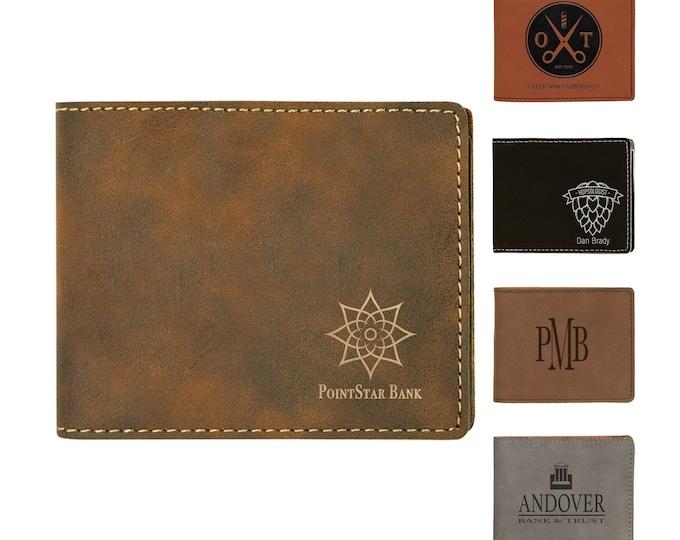 Personalized Bi-Fold Leatherette Wallet, Custom Wallet, Laser Engraved Wallet, Corporate Gifts, Personalized Gifts,Groomsmen Gifts,Mens Gift