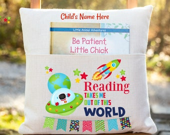 Personalized Book Pillow Cover, Reading Takes You Out of This World, Space Theme,  Book Pillow Cover, Children's Pocket Pillow Cover