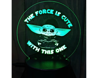 Laser Engraved LED Light Up Display/Sign - Baby Yoda or Your Choice of Image/Words, Multi-Colors, Custom Night Light, Desk Lamp, LED Sign
