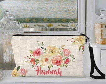Personalized Makeup Bag, Can be Personalized, Makeup Case, Floral Makeup Bag, Custom Cosmetic Bags, Personalized Makeup Pouch, Friends Gift
