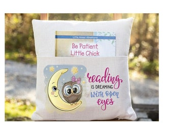 Personalized Book Pillow Cover, Reading is Dreaming with Open Eyes, Owl, Pocket Pillow Cover, Reading Book Pillow Cover, Custom Pillow Cover