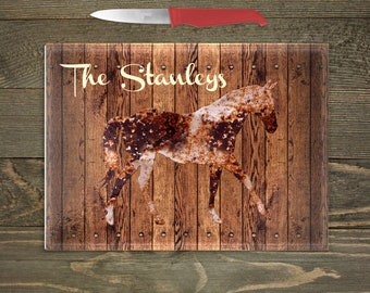 Personalized Glass Cutting Board, Your Choice of Words, Rustic Distressed Wood Look Background with Weathered Horse, Horse Themed Kitchen