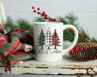 All is Calm Mug, Can be Personalized on the Other Side of Mug with Your Choice of Photo/Image/Words, 15 oz., Christmas Mug, Buffalo Plaid