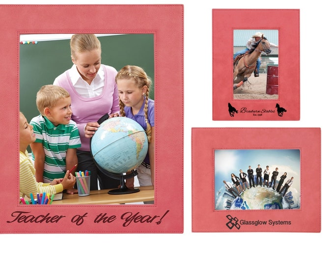 Personalized Leatherette Photo Frame, Pink, Custom Photo Frame, Engraved Photo Frame, 5x7 or 8x10, Corporate Gifts, Personalized Gifts
