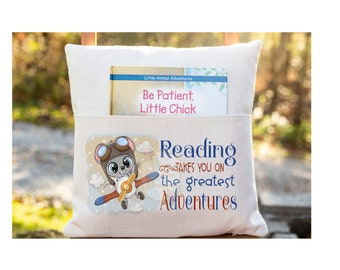 Personalized Book Pillow Cover, Reading Takes you on the Greatest Adventures, Pocket Pillow Cover, Reading Book Cover, Custom Pillow Cover