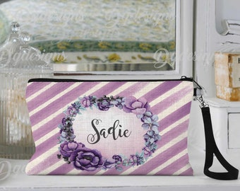 Personalized Makeup Bag, Can be Personalized, Purple Stripe Floral, Custom Cosmetic Bag, Personalized Cosmetic Bag, Friend Gift, Bridesmaid