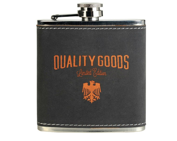 Custom Leatherette Flask, Gray/Orange, Your Choice of Image/Words, Personalized Flask, Laser Engraved Flask, Groomsmens Gifts, Mens Gifts