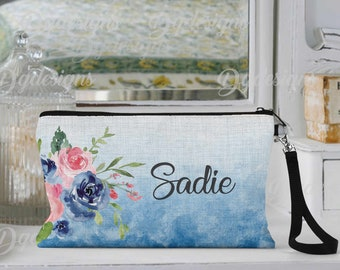 Personalized Makeup Bag, Can be Personalized, Blue & Pink Floral, Custom Cosmetic Bag, Personalized Cosmetic Bag, Friend Gift, Bridesmaid