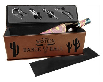 Laser Engraved Wine Box with Tools, Your Choice of Image/Words, Brown Leatherette, Custom Wine Box, Personalized Wine Box, Corporate Gifts