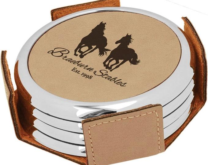 Personalized Tan/Black Leatherette Coaster Set, Laser Engraved, Set of 4, Engraved Coasters, Custom Coasters, Personalized Drink Coasters