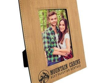 Personalized Leatherette Photo Frame, Bamboo Look, Custom Photo Frame, Laser Engraved Photo Frame, Corporate Gifts, Personalized Gifts