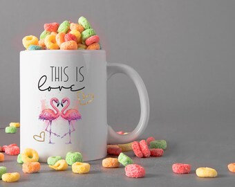 This is love Ceramic Mug, 15 oz., Can be Personalized - Custom Designed Mug, Personalized Mug, Valentines Gifts, Anniversary Gifts
