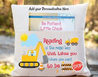 Personalized Book Pillow Cover, Construction Theme, Bulldozer, Reading Pillow Cover, Kids Pocket Pillow Cover, Reading Book Pillow Cover