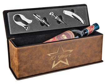 Laser Engraved Wine Box with Tools, Your Choice of Image/Words, Rustic Leatherette, Custom Wine Box, Personalized Wine Box, Corporate Gifts