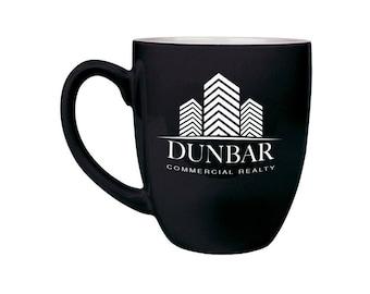Custom Bistro Coffee Mug, Personalized - Your Choice of Image/Words, 16 oz. Custom Coffee Cups, Corporate Gifts, Engraved Coffee Mugs