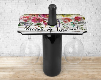 Personalized Wine Glass Tray, Uncork and Unwind, Wine Bottle Caddy, Wine Lover Gifts, Wine Glass Caddy, Housewarming Gifts, Friends Gifts